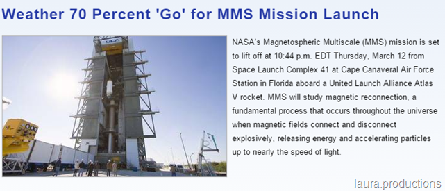 MMS Mission Launch Will Study Magnetic Reconnection