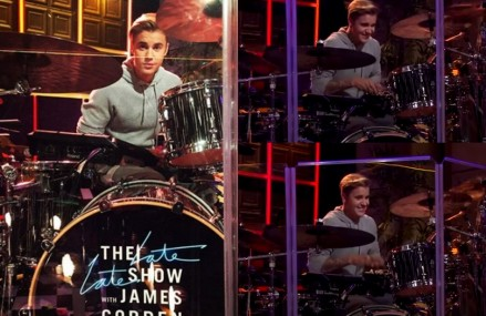 Justin Bieber Surprise Drummer on Late Late Show