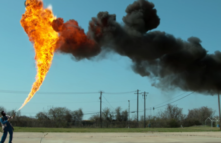 Who doesn't want to see a 50ft flamethrower in slow motion?