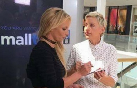 Ellen DeGeneres and Britney Spears cause chaos at the mall! Hilarious video!